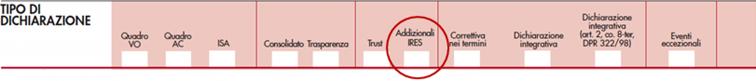 immagine del modello Redditi SC 2020 modello Redditi SC 2020 rigo RQ43 opzione addizionale Ires