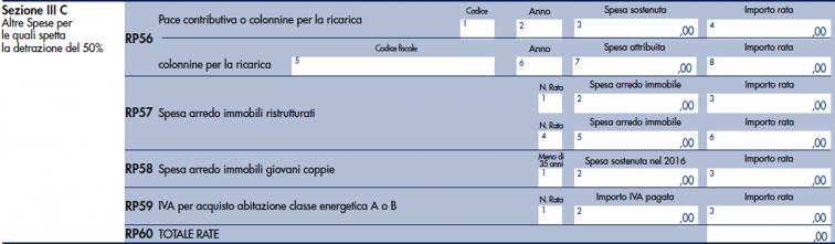 modello redditi PF 2020 -  righi da RP56 a RP60