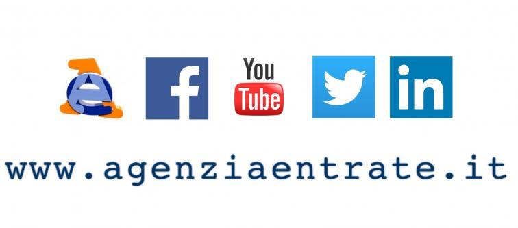immagine con i loghi social dell'agenzia delle entrate